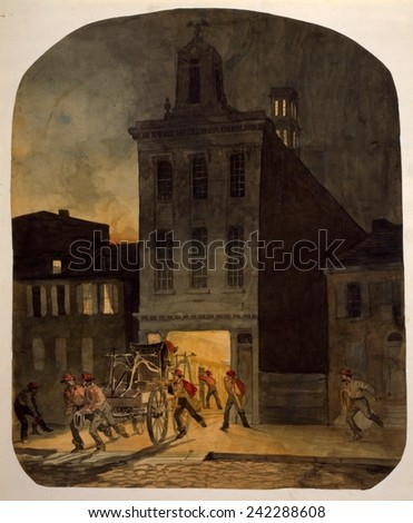 Firemen from the Weccacoe Engine Company pulling a hand-drawn fire engine as other firemen scramble to readiness. Philadelphia, 1857.