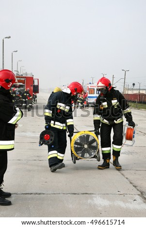 firemen in action, Firefighters exercises train accident, chemical contamination