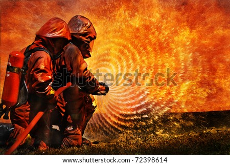 Firemen using extinguisher and water from hose for fire fighting at firefight training service of insurance group. Firefighter wearing fire suit for protect and safety under danger case.