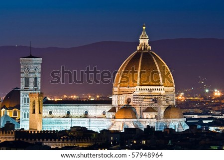 Firenze Duomo, Cathedral of Florence Italy, At Night from the Michelangelo's Piazza - stock photo