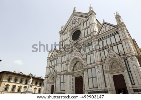 FIRENZE, ITALY - MAY 22, 2014 - Basilica di Santa Croce (Basilica of the Holy Cross), in Florence, Italy