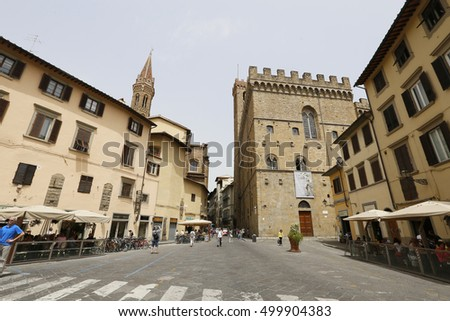 FIRENZE, ITALY - MAY 22, 2014 - People on the street of the ancient Italian city Florence. Florence - the administrative center of the region of Tuscany. Population of more than 373,000 people