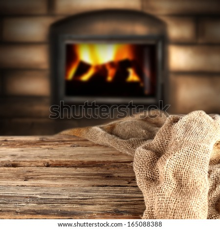 fireplace and sack