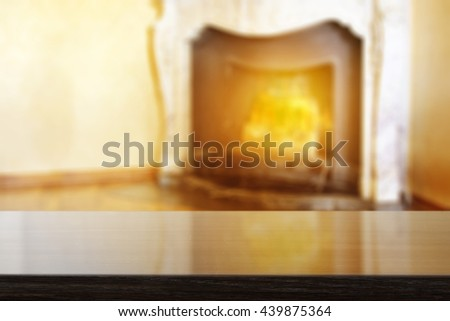 fireplace background and retro free place on desk  - stock photo