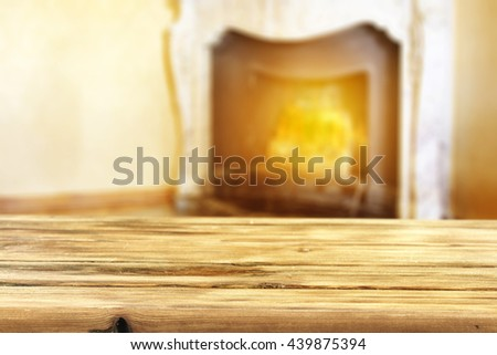 fireplace background and yellow color of wood and free place  - stock photo