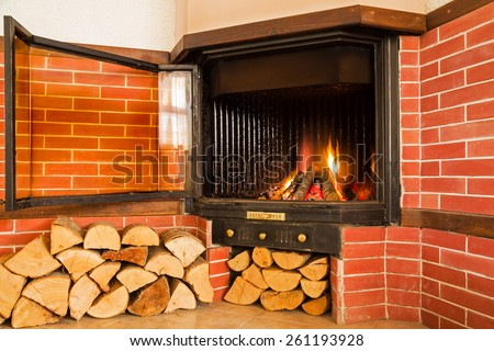 Fireplace, detail of home interior.