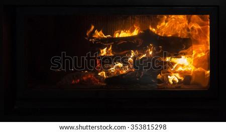 fireplace, fire, night - stock photo