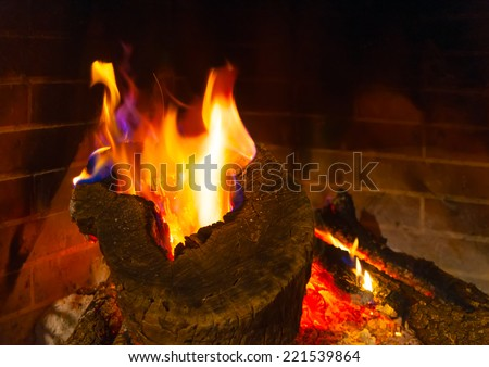 fireplace from a Greek old house - stock photo