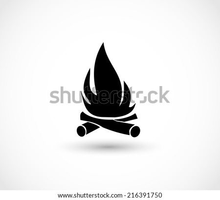 Fireplace icon - stock photo