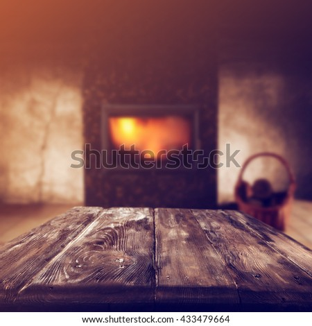 fireplace in home and dirty old table