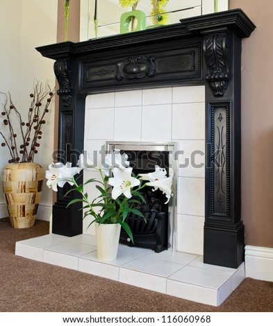Fireplace in the lounge with Lily's - stock photo