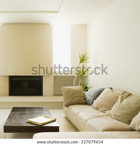 fireplace interior room with sofa