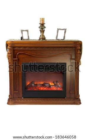 Fireplace isolated on white background - stock photo