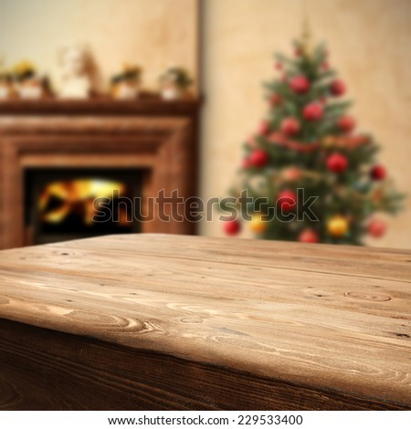 fireplace tree and table of wood  - stock photo