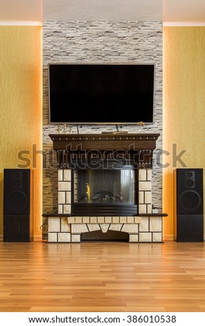 Fireplace with LED backlight - stock photo