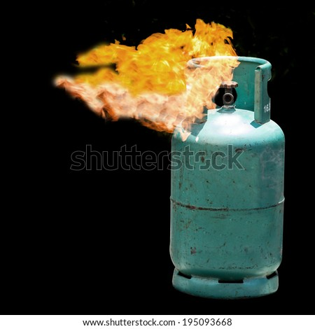firer on dangerous with green gas balloon - stock photo