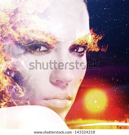 Firestarter. Abstract female portrait - stock photo