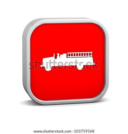 Firetruck sign on a white background. Part of a series. - stock photo