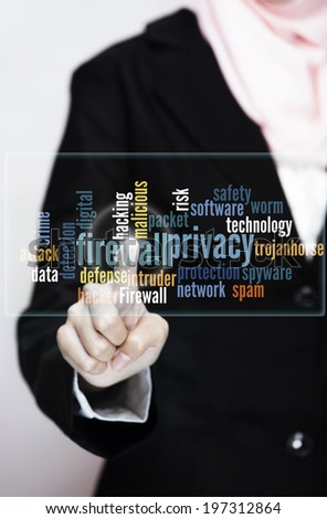 Firewall concept - businesswomen pressing  virtual screen with firewall info