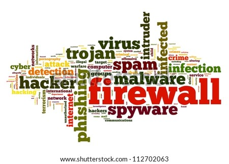 Firewall concept in word tag cloud on white background