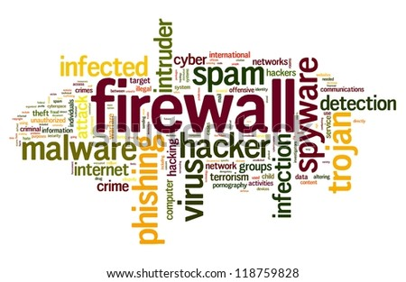 Firewall concept in word tag cloud on white background - stock photo