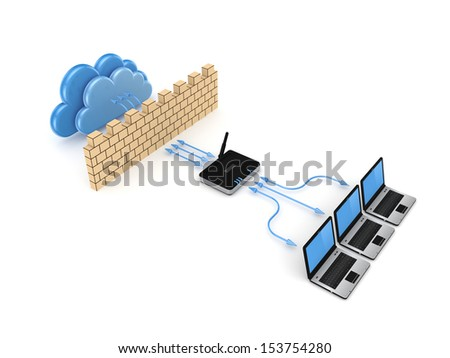 Firewall concept.Isolated on white background.3d rendered illustration. - stock photo