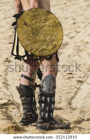 FIrewall, gladiator fighting in the arena of Roman circus - stock photo