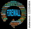 FIREWALL info text graphics and arrangement concept (word clouds) on black background - stock vector