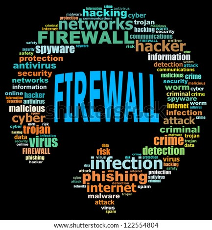 FIREWALL info text graphics and arrangement concept (word clouds) on black background - stock photo