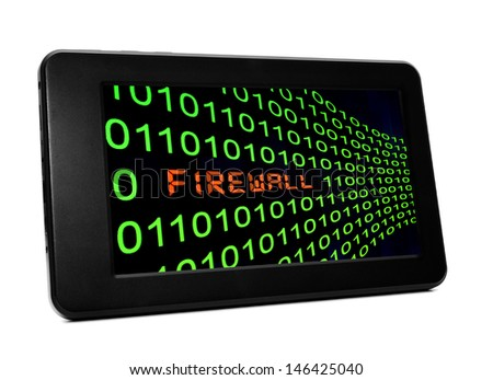 FIrewall on pc tablet - stock photo