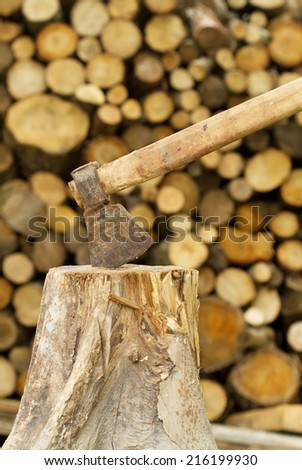 Firewood axe  - stock photo
