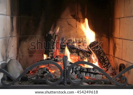 Firewood burning in fireplace - stock photo