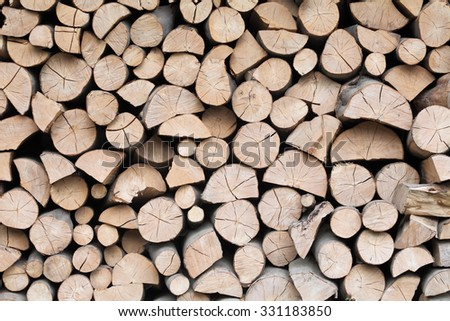 Firewood dry logs in a pile. Natural wooden background