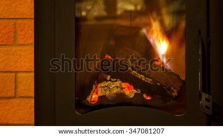 Firewood in the fireplace.