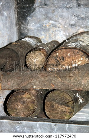Firewood in the stove - stock photo