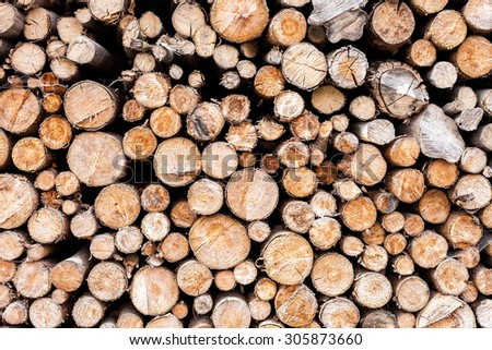 Firewood stack, arranged firewood.