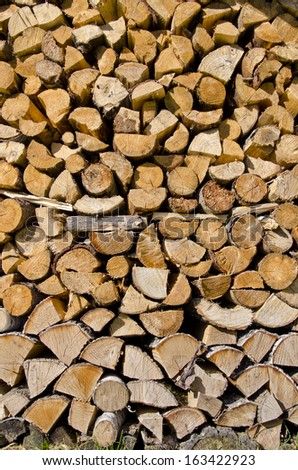 firewood stack background and texture