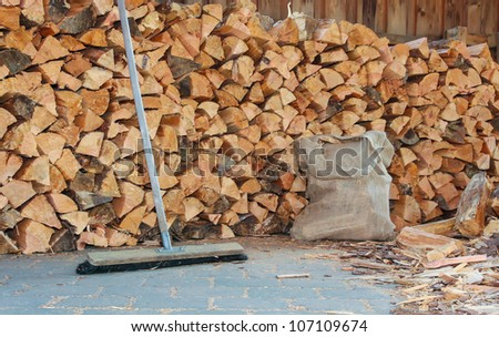 firewood working place - stock photo
