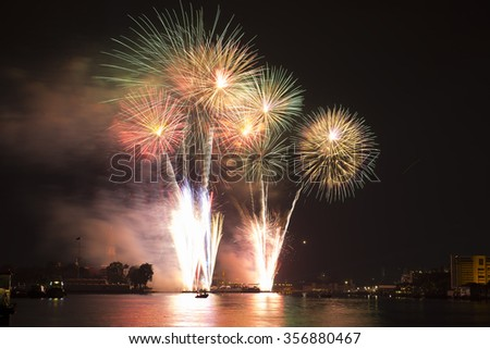 Firework at Wat arun under new year 2016 celebration time, Thailand