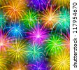 Firework background seamless of various colors. Pattern for holiday design - stock photo