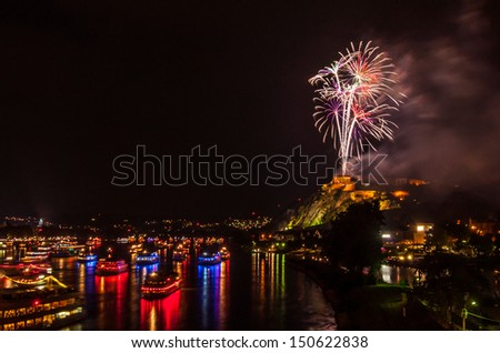 firework display of Rhine in Flames in Koblenz 2013