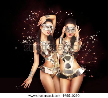 Firework & Fancy Dress Party. Showgirls over Sparkling Background - stock photo
