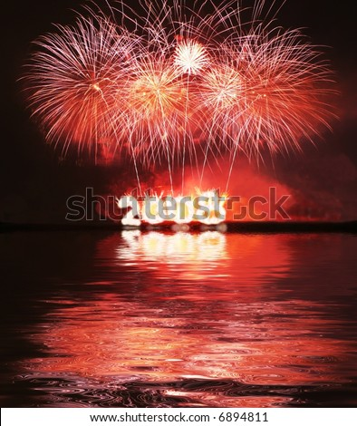 Firework for date 2008 - stock photo