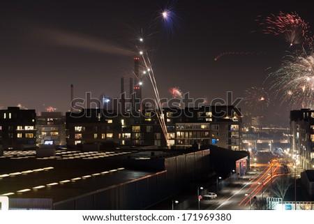 Firework in Copenhagen in New Year night 2013/2014 - stock photo