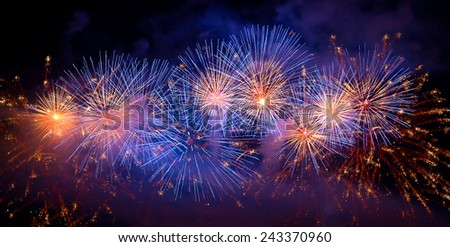 Firework in the dark sky - stock photo
