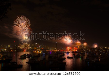 Firework new year eve 2013 Sydney, Australia. Sydney habour bridge. - stock photo