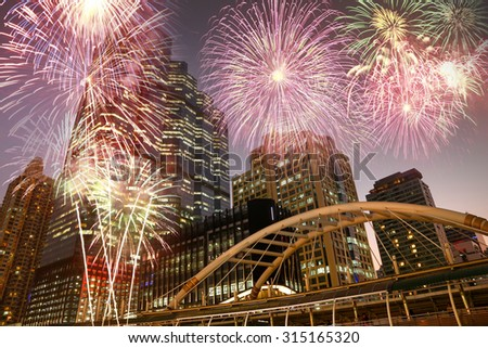 Firework over the city - Travel concept. - stock photo