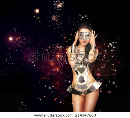 Firework. Woman over Festive Backrgound in Theatrical Costume - stock photo