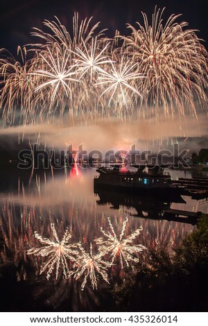 Fireworks above the lake