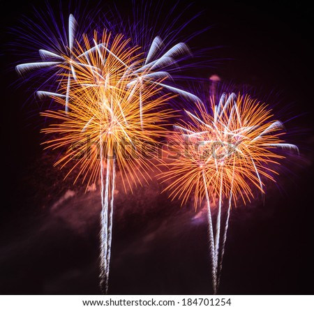 Fireworks Against a Black Sky at Petchaburi, Thailand - stock photo